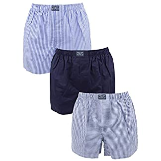 Polo Ralph Lauren Hombre 3 Tejido de Rayas y Boxeadores A Cuadros clásico de algodón, Azul