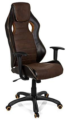 hjh OFFICE 621880 RACER VINTAGE IV - Silla Gaming y oficina,  piel sintética marrón