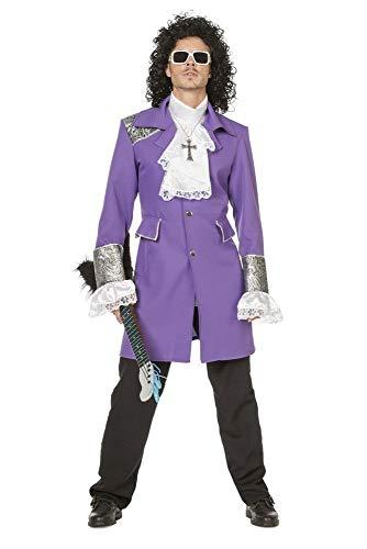 shoperama Herren-Kostüm Purple Prince Deluxe Rain Mantel Hemd Jacke Topqualität Karneval, Größe:48 (Purple Rain Prince Kostüm)