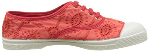 Bensimon Tennis Lacet Broderie Anglaise, Baskets Basses Femme Rouge (Rouge)