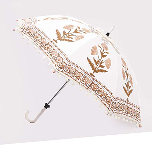 "HANDICRAFT-PALACE Floral Printed Parasol Sun Shade Hand Block Printed Umbrella Gallery, Stage Decorative Umbrella 28"" Inch (Diameter) (White, Brown)"