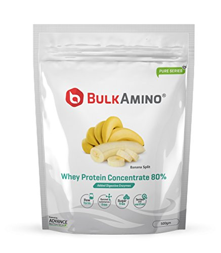 [Sponsored]Advance Nutratech BulkAmino Whey Protein Concentrate 80% Raw Powder Nutrition Supplement – 500 Gms – Banana Flavored...