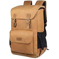 EverVanz Canvas Leder Rucksack Reise Wandern Outdoorrucksack Daypacks für 15 Zoll Laptop großer Rucksack für Schule
