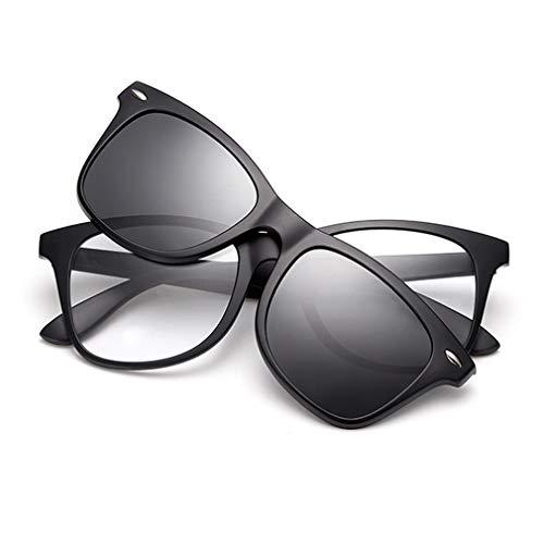 KUNER 2-in-1 Polarisiert Hochklappen Magnetisch Sonnenbrillen aufclipsen & Brille Drinnen draußen UV-Schutz TR90 Rahmen (K8BK_Black)