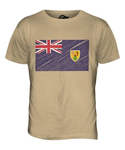CandyMix Turks- Und Caicosinseln Kritzelte Flagge Herren T Shirt Sand
