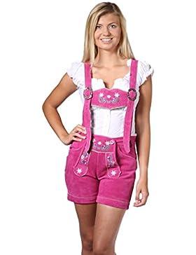 Damen Trachten Lederhose Damenhose mit Trägern aus feinstem Veloursleder in rosa, Bayrische Trachtenlederhose...