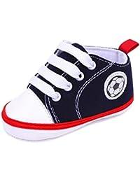 Vovotrade Aprender a caminar Primer paso Zapatos Bebé recién nacido Fútbol Imprimir Zapatilla Antideslizante Suela blanda Zapato de lona del niño