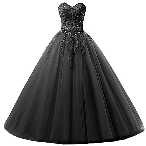 Zorayi Damen Liebsten Lang Tüll Formellen Abendkleid Ballkleid Festkleider Schwarz Größe 36