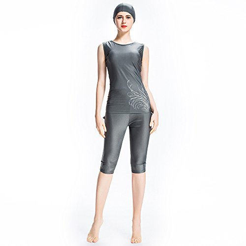 rt Sleeve Surfen Anzug, Konservative Badebekleidung für Frauen Damen Mädchen–Muslim Islamische Bescheidenheit Badeanzug Burkini UPF 50+, grau, S (Tomaten Anzug)