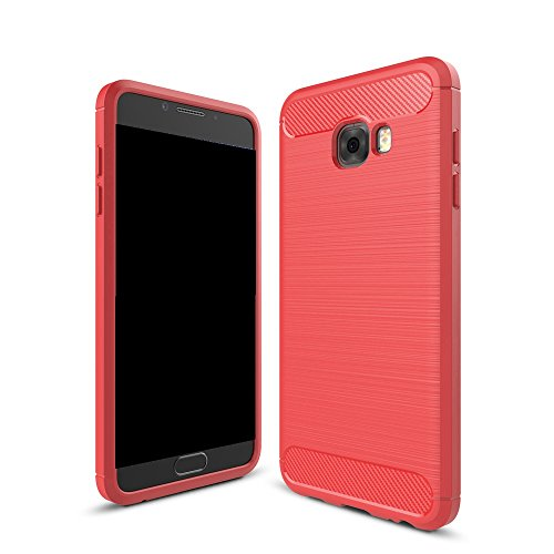 EKINHUI Case Cover Dünn und Leightweight Brushed Carbon Fibre Robuste Rüstung Back Cover Stoßstange Fall Shockproof Drop Resistance Shell Cover für Samsung Galaxy C7 Pro ( Color : Black ) Red
