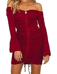 Snyemio Primavera Autunno Sexy Vestiti Donna Casual Moda Sottile Maniche  Lunghe Mini Abito Pullover Cocktail Partito b12964a7c97