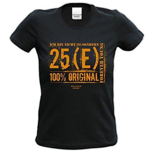 Damen-Kurzarm-T-Shirt Girlieshirt Ich bin nicht 30 Geschenk-Idee zum 30. Geburtstag Geburtstagsgeschenk Farbe: schwarz Schwarz