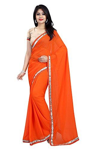 Jenny Fashion Women's Chiffon Saree (Mirrorange)