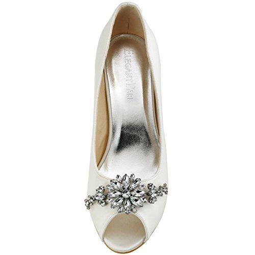 Elegantpark HP1541 Raso Diamante Gioielli Peep toe Tacco Alto Scarpe da sposa Ballo Partito da Sera Avorio
