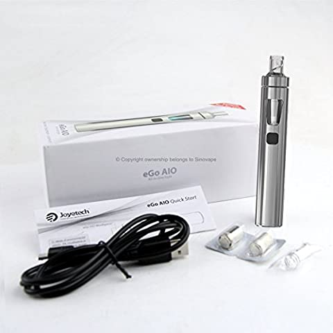 Véritable Joyetech eGo AIO - Rechargeable 1500mAh Batterie, 2ml Clearomizer - STARTER KIT - (Argent). SANS NICOTINE SANS TABAC.
