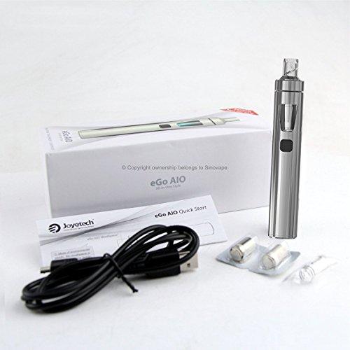 """Joyetech eGo AIO (All-In-One) Kit de Inicio/E-Cigarette - Batería Recargable de 1500mAh, 2 ml """"Cubis"""" A Prueba de Fugas Clearomizer Atomizador - Seguro Para Niños. (Plateado)"""