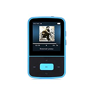 AGPTEK Mini Clip 8GB MP3 Player mit Silikon Hülle Tragbare 24 Stunden Wiedergabe Musik Player mit FM, G05, Blau