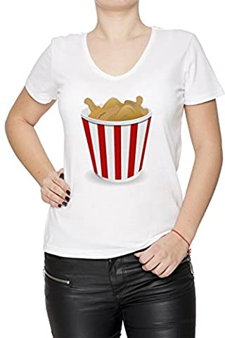 Frit Poulet Femme T-Shirt V-Col Blanc Manches Courtes Taille XL