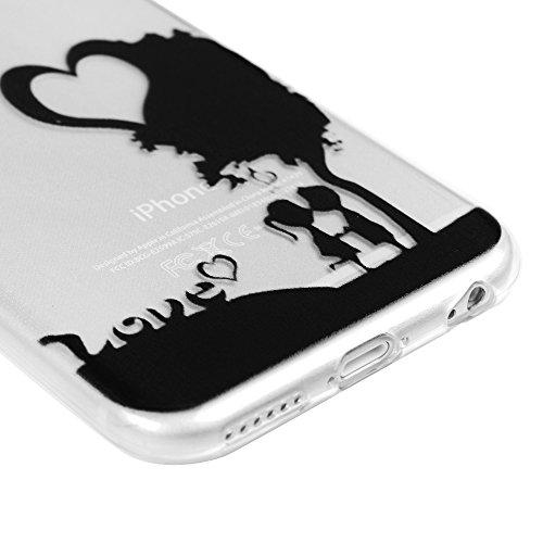 Badalink Bunt Durchsichtig Cover Schale TPU Case Silikon Hülle für iphone 6 Plus Hülle FederLeicht Gummi Bumper Cover Schutz Schale Siliconcase Silikon Tasche Schutzhülle für iphone 6S Plus Case, Lieb Liebhaber Love