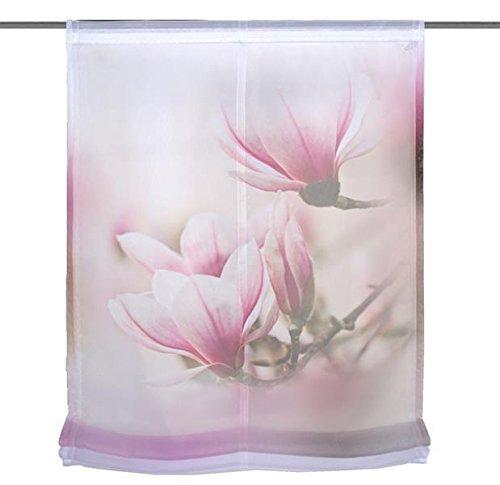 Home Wohnideen Raffrollo Voile Digitaldruck Magnene 1 teilig 140 x 100 cm Rose