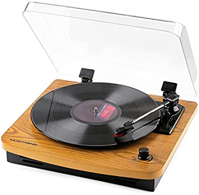 musitrend tocadisco–Tocadiscos (tres velocidad 33/45/78con altavoz estéreo integrado puerto de conector RCA soporte électrophone de grabación MP3hecho de madera natural