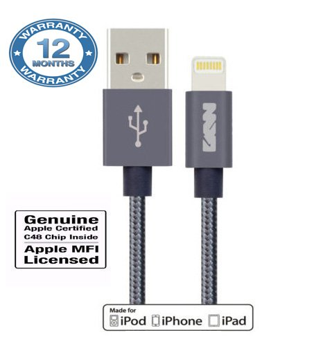 GKW Mfi Approved Apple Certified 8pin Lightning USB Fast Charge 2.4Amp and Sync Cable for iPhone 5/6/6s/Plus/iPad Mini/Air/Pro