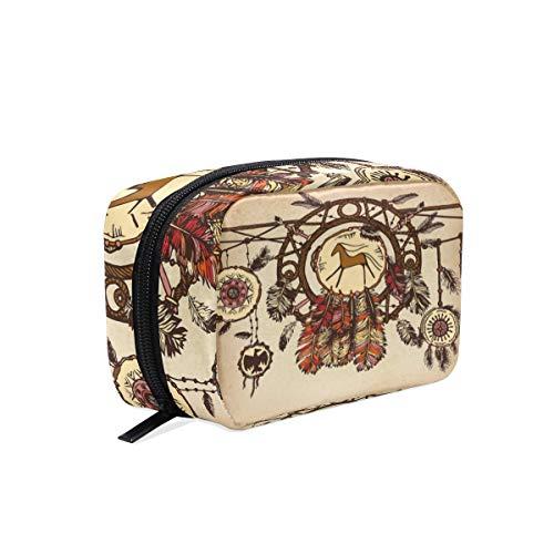 Mnsruu atrapasueños con plumas de pájaro para maquillaje, bolsa de cosméticos portátil, bolsa de almacenamiento, bolsa de almacenamiento, regalo para mujeres y niñas