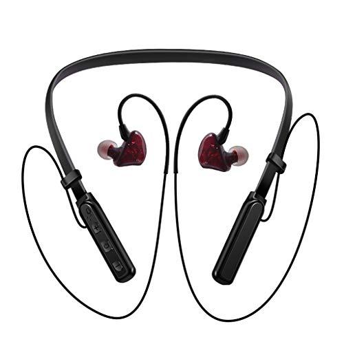 Hängender Sport Kopfhörer Bluetooth Hals Metall Ohr Shell Super Gute Klangqualität wasserdichtes Drahtlose Bluetooth-Kopfhörer mit magnetischem Stereo-Sport schweißfest läuft für Apple Android (Red) (Sport-ohrhörer Läuft)