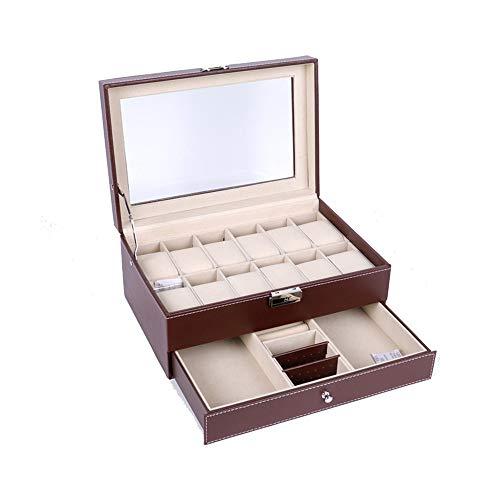 Wuxingqing Uhrenboxen 12 Uhrenbox Uhr Display Schmuck Vitrine Organizer Mit PU Leder Mit Schlüssel & Schloss (Farbe : Braun, Größe : Einheitsgröße)