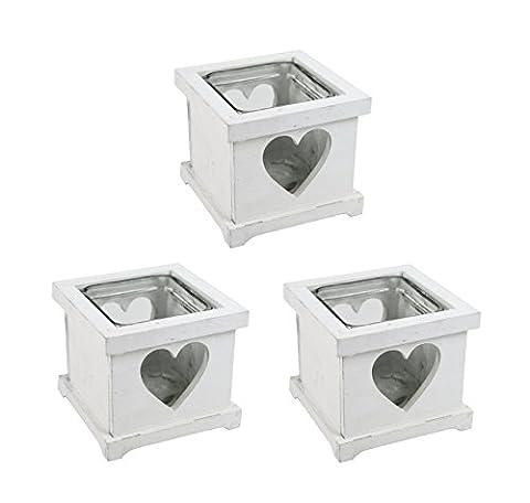Teelichthalter mit Herz 3 Stück weiß (Herz Glas Teelicht)