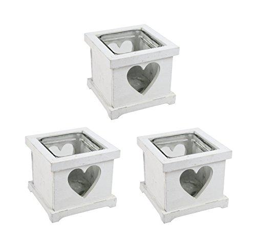 Teelichthalter mit Herz 3 Stück weiß
