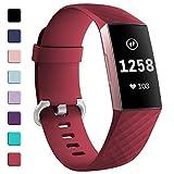 HUMENN für Fitbit Charge 3 Armband, Klassisch Armbänder Einstellbare Ersatzband für Fitbit Charge 3 Aktivitäts Tracker, Klein Rot
