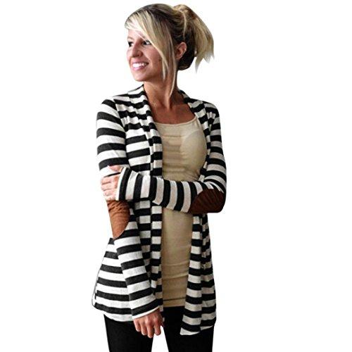 Xxl-damen-snowboard-jacke (Coat Damen,Binggong Frauen Beiläufige Lange Hülsen Schwarz Weiß Gestreifte Strickjacken Patchwork Slim Outwear offene Strickjacke Pullover Mantel mit Taschen (Schwarz, XL))