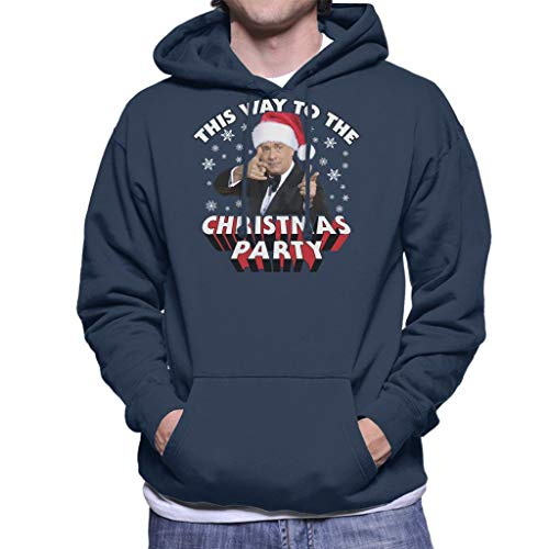 (Coto7 Tom Hanks This Way to The Christmas Party Men's Hooded Sweatshirt)