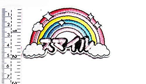 Pailletten schöner Regenbogenwolke Japan Brief Cartoon Kinder Kinder Studenten Patch Weste Jacke Biker Motorrad Rider Biker Tattoo Jacke T-Shirt Aufnäher Aufbügler Aufbügler