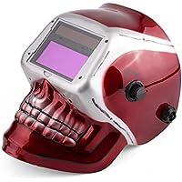 Casco de soldadura con oscurecimiento automático Pro Powered Pro Arc Máscara de soldadura con máscara de molienda Red Tig Mig Máscara de soldadura con patrón de cráneo rojo
