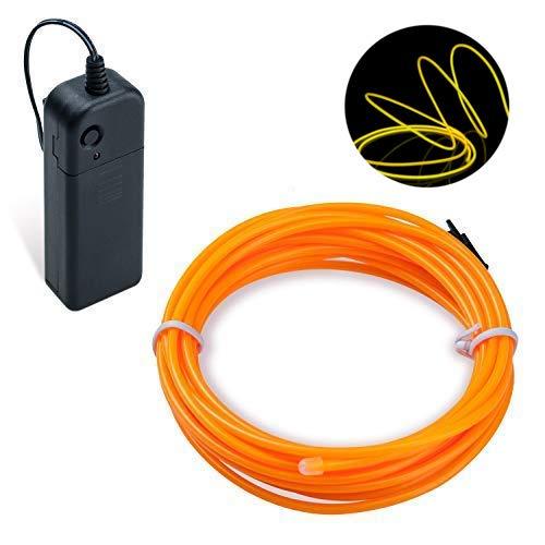 Lysignal Wasserdicht Flexibel 3M 9 FT Neon Beleuchtung Lichtschlauch Leuchtschnur EL Kabel Wire mit 3 Modis für Disco Party Kinder Halloween Kostüm Kleidung Weihnachtsfeiern(Kürbis)