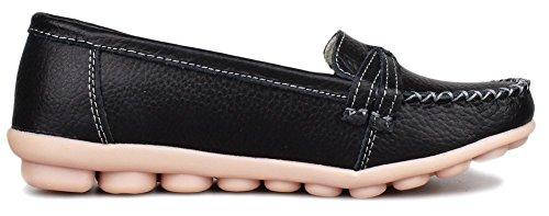 IFashion Damen Casual Mokassin Leder Loafers Fahren Schuhe Comfort Freizeit Flache Schuhe Slipper Flats Chuhe Schwarz