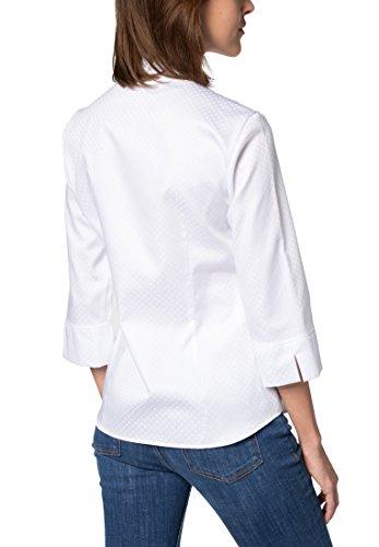 Eterna Chemisier à Manches 3/4 Modern Classic Jacquard Uni Blanc