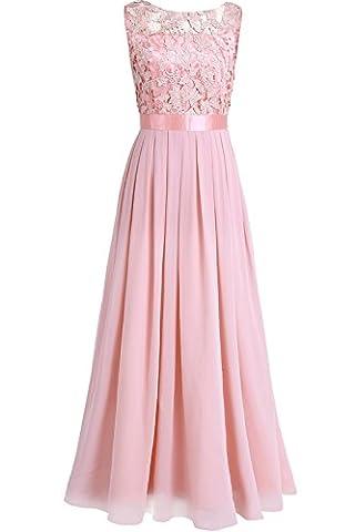iEFiEL Damen Kleid festliche Kleider Brautjungfer Hochzeit Cocktailkleid Chiffon Faltenrock Elegant Langes Abendkleid Perle rosa 42