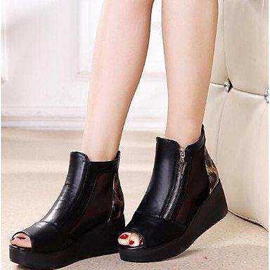 Sandali donna Primavera Comfort PU Casual Wedge Heel Black Black