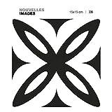 Draeger - Carrelage Adhésif Mural - Stickers Carrelage pour redécorer Facilement Votre intérieur - Lot de 6 Carrés Adhésifs Fleur Noir 15 x 15 cm