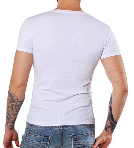 Young & Rich Party Herren BASIC T-Shirt 1315 tiefer V-Ausschnitt Weiß