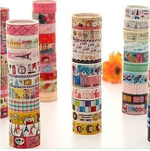 Lau&Home 5M Lot de 10 rouleaux de ruban adhésifs à motifs Idéal pour scrapbooking/ activités manuelles