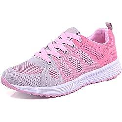 Decai Zapatillas de Deportivos de Running para Mujer Deportivo de Exterior Interior Gimnasia Ligero Sneakers Fitness Atlético Caminar Zapatos Transpirable Rosa 36 EU