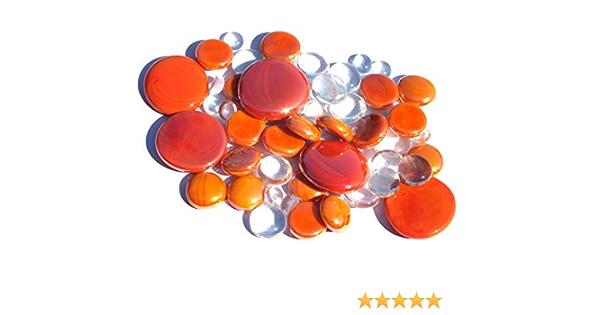 mesbilles Galet en Verre 30 mm 20 mm 10 mm Cailloux en Verre d/écoratifs 250 GR M/élange Orange Billes Plates