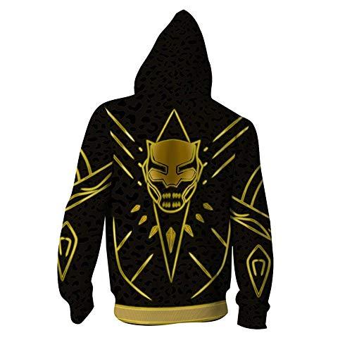 RJHWY 3D Hoodie Sweatshirt Unisex Pullover Kapuzenjacke Kleidung Mantel Reißverschluss Black Panther XXL