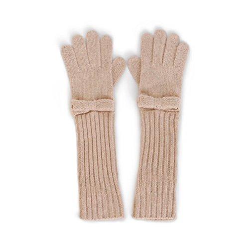 Damen Handschuhe - Stricken Herbst Und Winter Warme Wolle Fingersatz Solid Color Arm Guards Outdoor Riding,Beige (Mädchen Fingersatz)