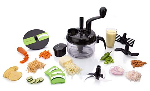 MR Products Plastic 7 in 1 Turbo Food Processor Chopper, Atta Maker, Chopper, Chipser, Slicer, Shredder for Kitchen (Black)