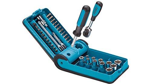 HAZET Profi-Steckschlüssel-Satz Vierkant/Sechskant (6,3 mm (1/4 Zoll), 38-teilig, mit Umschaltknarre 863P, Aufbewahrung im praktischen HAZET SmartCase) 856-1